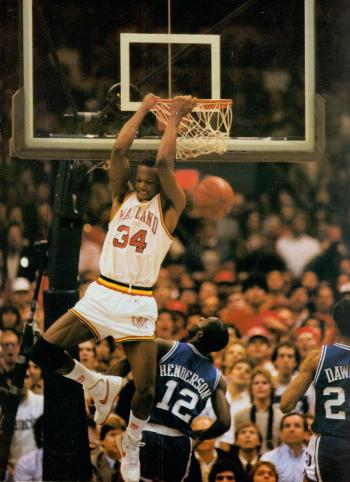 Len Bias's slamming it home against Duke. Photo courtesy of University of Maryland archives.